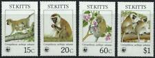ST KITTS (1986) 'Green Monkey'    Set of 4     WWF     MNH  [9409]