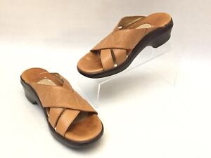 ARIAT 96723 Brown Tan Leather Decorative Stitched Slide Sandals Women's Size 7B