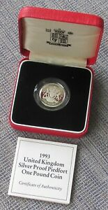 1993 silver proof Piedfort £1 (one pound) coin, cased with CoA, RM