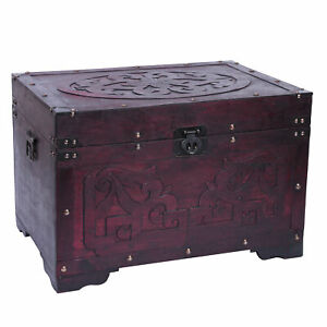 New Vintiquewise Vintage Style Cherry Wooden Storage Trunk with Fretwork Design