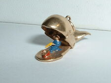 VINTAGE 14k YELLOW GOLD JONAH AND THE WHALE CHARM opens up to Jonah