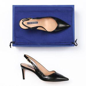 Stuart Weitzman Edith 70 Black Patent Leather Slingback Heels - Size 6 W