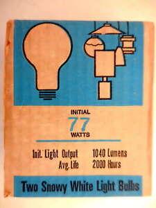 Quantity of 2 Sylvania 77 Watts Incandescent Light Bulbs #7ea