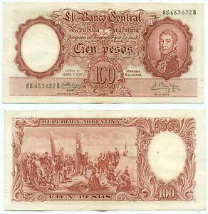 ARGENTINA NOTE 100 PESOS (1961) FABREGAS-M.DELFINO SUFFIX B B# 2058 P 272c AXF