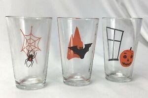 Lot 3 Libbey Halloween Drinking Glass Tumbler Set Spider Pumpkin Bat Vintage