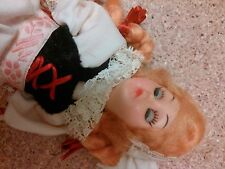 old vintage doll figurine open shut eyes dress blonde hair blue eyes braids