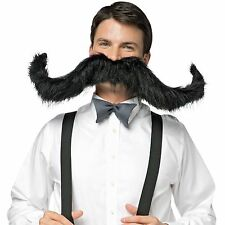"Halloween Super 30"" Mustache Original Bendable Stache Curl Twisted Black"
