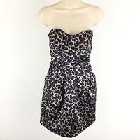 Charlotte Russe Dress Size 4 Womens Animal Print Strapless Mini Purple Party NWT