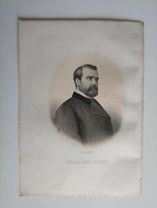 1867 Litografía Retrato Oval: Nicolás María Rivero (Sevilla-Madrid)