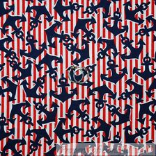 BonEful Fabric Cotton Quilt VTG White Red Blue USA Stripe Sail Boat Anchor SCRAP