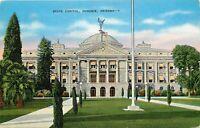 Linen Postcard AZ L370 State Capitol Phoenix Arizona Street View Cancel 1940