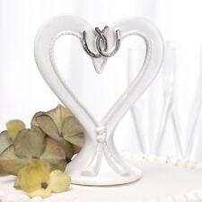 Linked Horseshoes Western Theme Porcelain Heart Wedding Cake Topper