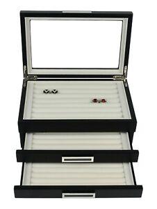 108 sets Black Wooden Cufflink Display Box Ring Tie Clip Storage Case Organizer.