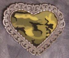 Pewter Belt Buckle Desert Camouflage loop Heart NEW