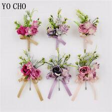 Silk Rose Wedding Boutonniere Men Girl Wrist Bracelet Flower Prom Party Decorat