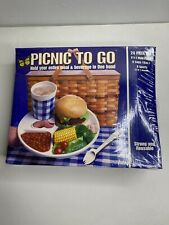 PICNIC TO GO 24 PIECE SET 8 PLATES 8 CUPS 8 SPORTS TAILGATE CAMPING SPORTS NEW