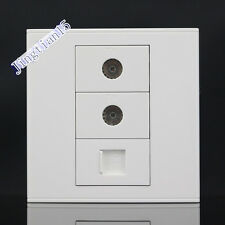 Wall Socket Plate 3 Port TV & CAT5 RJ45 Cat5e Network LAN Wall Panel Faceplate