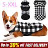 Pet Dog Clothes Puppy Jacket Thicker Fleece Black Plaid Hoodie Windproof Vest