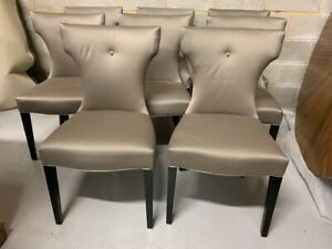A Set of Eight Coach House Ltd Carved Back Chesterfield Button Dining Chairs