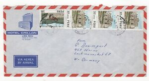 1974 PERU Air Mail Cover LIMA to HERNE GERMANY Hotel Crillon