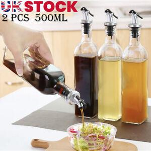 2x 500ML Olive Oil Glass Control Dispenser Vinegar Pourer Bottle Kitchen Cooking