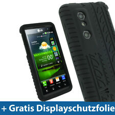 Schwarz Silikon Tasche für LG Optimus 3D P920 Android Skin Hülle