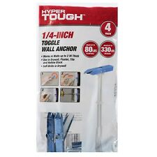 Hyper Tough 1/4 inch Toggle Wall Anchor, 4 count  NEW (3 Packs) 12 Anchors Total