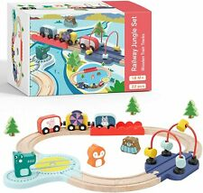 Wooden Train Set Learning-Sensory-Fine Motor Skill Toys for Toddlers