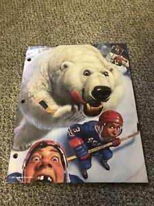 Vintage 1994 Mead Hockey School Folder No Rules Portfolio Polar Bear