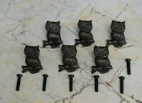 Vintage cast iron Owl cabinet drawer door knobs handles pull rustic 6pcs