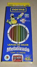 NORMA 12 METAL colored pencils - Gold Silver Sky Violet Emerald Olive Terracota