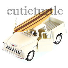 Kinsmart 1955 Chevy Stepside 3100 PickUp Truck 1:32 with Surfboard Cream