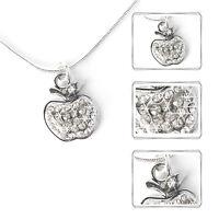 Halskette Apfel Damen Kette Strass Schmuck Frau Mode silberfarben Collier 45cm