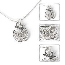 Halskette Apfel Damen Kette Strass Schmuck Frau Mode silberfarben Collier