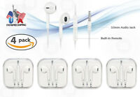 4 Pack Lot Generic New Earphones for iPhone 6 6S 5 5S 4 4S SE  Remote & Mic
