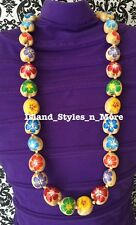Hawaii Wedding NATURAL Hibiscus Kukui Nut Lei Graduation Multicolor Necklace
