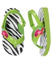NWT Gymboree SWIM SHOP sz 5-6 WILD FOR ZEBRA  Flip Flops Toddler Girls