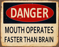 Danger Mouth Operates Faster brain VINTAGE ENAMEL METAL TIN SIGN WALL PLAQUE