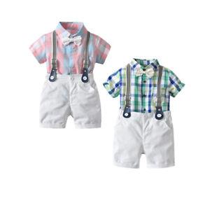 2PCS Newborn Baby Boy Romper Tops+Straps Shorts Gentleman Outfits Clothes Suit