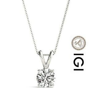 IGI CERTIFIED DIAMOND PENDANT 2 CARAT IDEAL ROUND SI1 NECKLACE 14K WHITE GOLD
