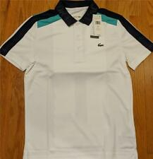 Mens Authentic Lacoste Ultra Dry Pique Polo Shirt White/Navy/Papeete 5 Large $98