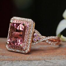 2ct Emerald Cut Pink Sapphire Cocktail Infinity Duchess Ring 14k Rose Gold Over