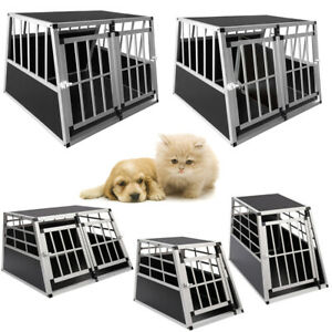Heavy Duty Strong Dogs Cage Pets Kennel Car Crate Aluminum Travel Transport Cage