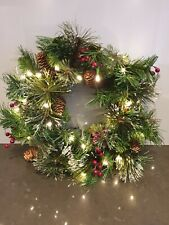 25 Lit White lights Natural Pine Cone and Berry Snow Decorated Wreath Christmas
