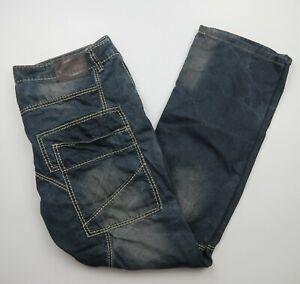 Chisel Blue Denim Jeans Size 40 Riveted Pockets Cotton White Stitching