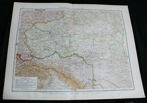 GERMAN ATLAS MAP PAGE PLATE OF RUSSIA EASTERN & MID VINTAGE PRE WWI EARLY 1900s