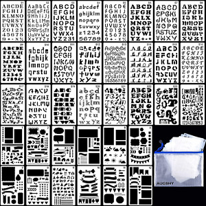 36PCs Letter and Number Stencils DIY Drawing Templates Journal Stencils with A S