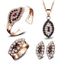 Women Wedding Crystal Rhinestone Necklace Bracelet Earrings Charm Jewelry Set US