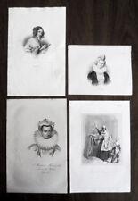 4 Original Engravings of Polish Heroines - 19th Century Poland - Rare