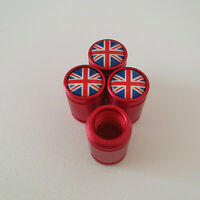 UNION JACK METAL SPORTS Valve Dust caps all Cars 7 COLORS UK DISPATCH RED